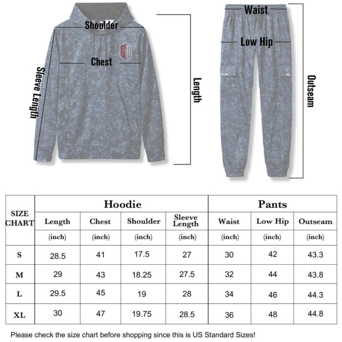 Track suit size chart